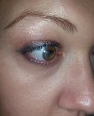 Eye look after applying spray